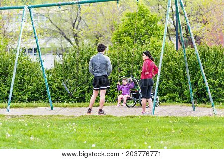 Saguenay, Canada - June 3, 2017: Downtown City Park In Quebec During Summer With Family, Mother, Fat