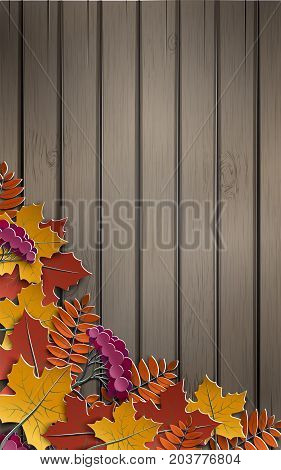 Autumn paper background with colorful tree leaves on wooden backdrop design elements for the fall season banner poster or thanksgiving day greeting card paper cut out art style vector illustration