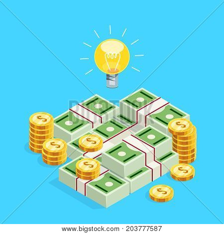 Isometric concept of crowdfunding. 3d bulb as a symbol of the creative idea over stacks of isometric money. Vector illustration.