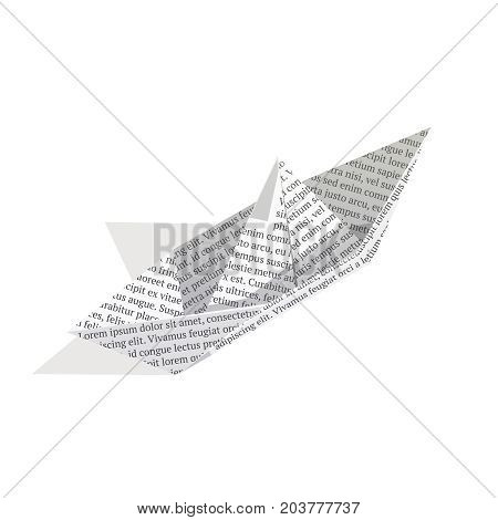 Isometric paper boat isolated on white background. 3d boat made of newspaper. Vector illustration.