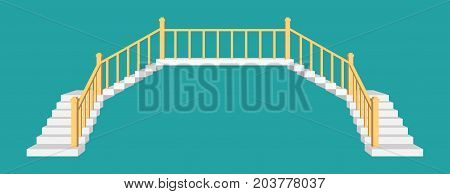 Stairs with a railings. Front view vector illustration.