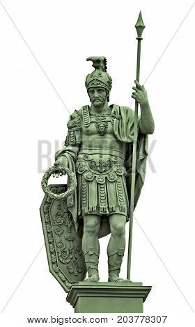 Statue of Roman god of war Mars (Ares) in armor of ancient Roman warrior. Isolated on white