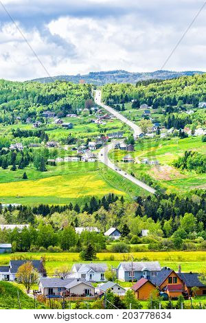 Les Eboulements, Charlevoix, Quebec, Canada Cityscape Or Skyline With Main Highway Steep Curvy Road