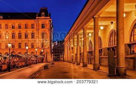 Slovenia. Ljubljana. Beautiful night view of the capital of Slovenia. The central part of the city. Cityscape view of Ljubljana the central part of the city.