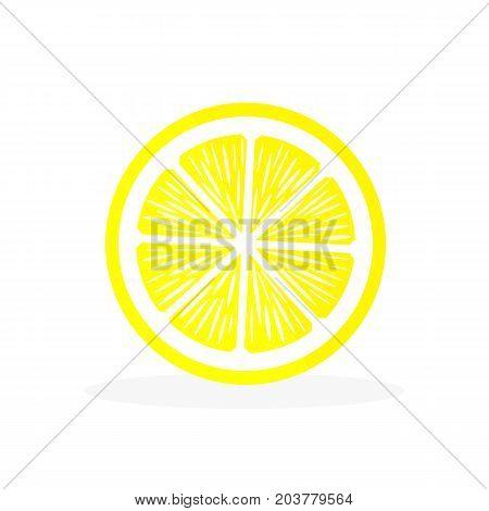 Slice lemon icon on white background. Sour fruit. Vector illustration.