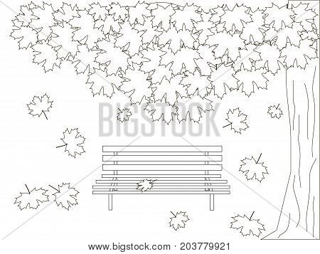 Monochrome romantic background with maple tree, bench, falling maple leaves coloring book anti stress stock vector illustration