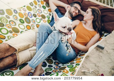 Happy Hipster Couple With Bulldog Relaxing In Hammock On The Beach In Sunset Light, Summer Vacation.