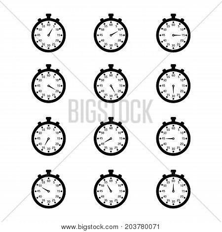 Set of different stopwatches. Vector flat black and white clocks.