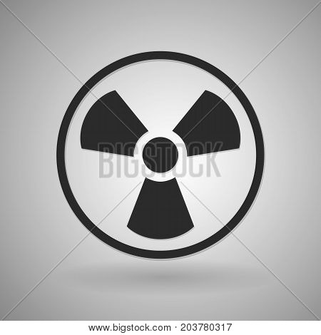 Vector toxic icon. Radioactive sign. Illustration isolated on background. Black symbol.