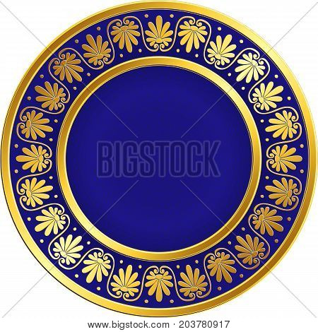 Golden round frame with traditional vintage Greek Meander pattern on the blue background for design template. Gold pattern for decorative tiles and plates Traditional vintage Golden round Greek ornament, Meander pattern on red and black background. Gold p
