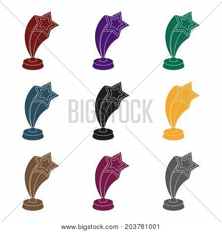 Cup in the shape of silver stars flying upward. Award for best performance of secondary roles.Movie awards single icon in black style vector symbol stock web illustration.