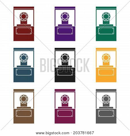 Diamond on a pedestal icon in black style isolated on white background. Museum symbol vector illustration.