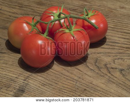 Close Up Ripen Five Red Tomatoes On Branch On Old Oak Wooden Table
