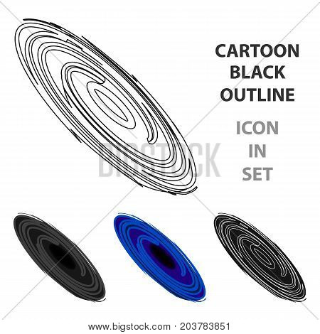 Black hole icon in cartoon design isolated on white background. Planets symbol stock vector illustration.