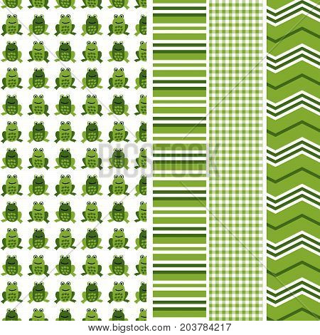 Green frog seamless pattern with coordinating stripe, gingham and chevron print. Seamless patterns
