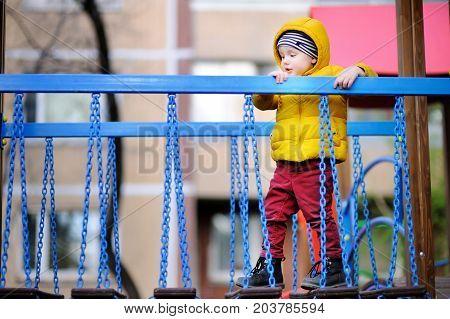 Little Boy Having Fun On Outdoor Playground