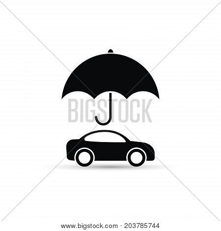 Umbrella above car icon vector car protect illustration.