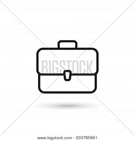 Briefcase outline icon. Vector isolated case simple line symbol.