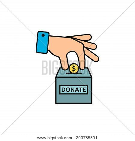 Hand putting coin in donate box color icon. Vector.