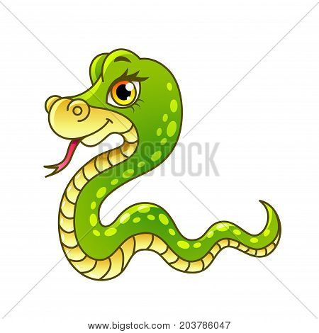 Cartoon snake isolated on white vector illustration