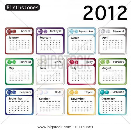 A 2012 calendar showing birthstones for each month. Also available in vector format.