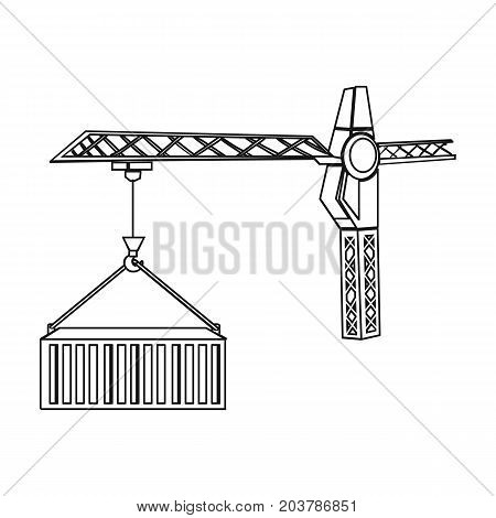 Moving the container with a tower crane. Moving and delivery single icon in outline style isometric vector symbol stock illustration .