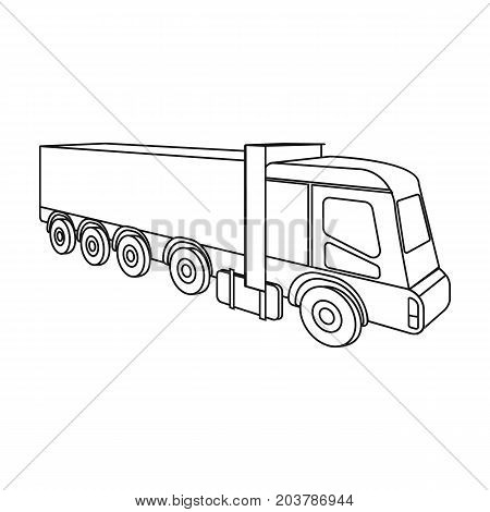 A large truck for the transport of goods. Transportation and delivery single icon in outline style isometric vector symbol stock illustration .