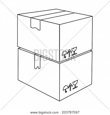 Packaged boxes with goods. Logistics delivery single icon in outline style isometric vector symbol stock illustration .