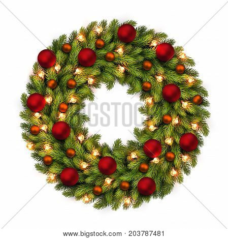 Christmas Greeting Card And Background. Christmas Wreath With Bulbs And Red, Orange Balls. Vector Ve