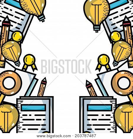 school utensils to education study background vector illustration