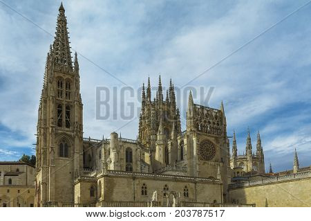 View of the gothic Cathedral on August 27 2017 in Burgos Castile and Leon Spain.