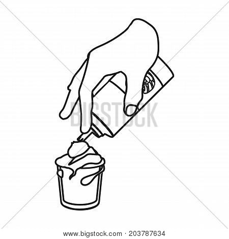 Preparation of a delicious dessert with cream. Dessert single icon in outline style vector symbol stock illustration .