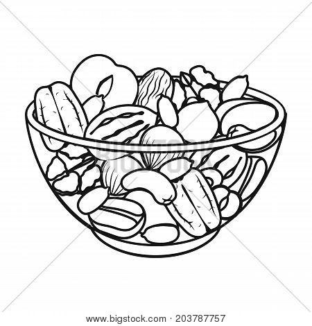 A mixture of different kinds of nuts. Different nuts single icon in outline style vector symbol stock illustration .