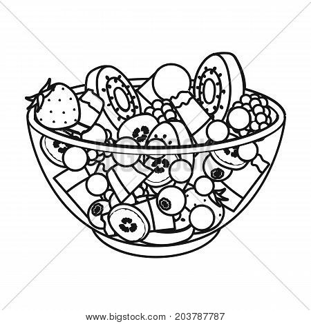 Salad from various kinds of fruit. Fruit single icon in outline style vector symbol stock illustration .