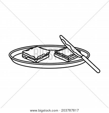 Tasty food, a sandwich with chocolate icon in outline style vector symbol stock illustration .