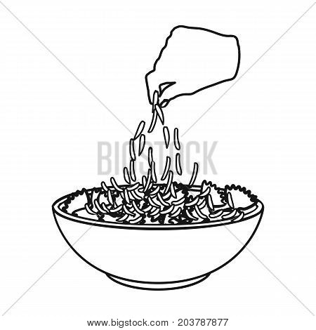 Preparation of food from pasta icon in outline style vector symbol stock illustration .