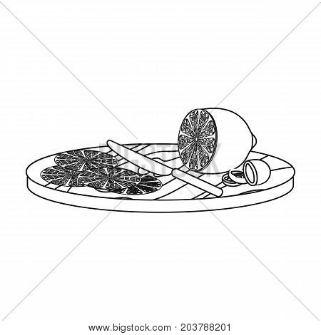 Slicing lemon and olives single icon in outline style vector symbol stock illustration .