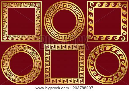 Set golden round and square frames with traditional vintage Greek Meander pattern on red background for design template.