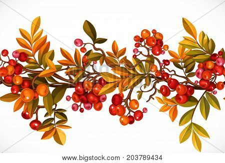 Seamless horizontal autumn garland of branches with leaves and red berries isolated on white background