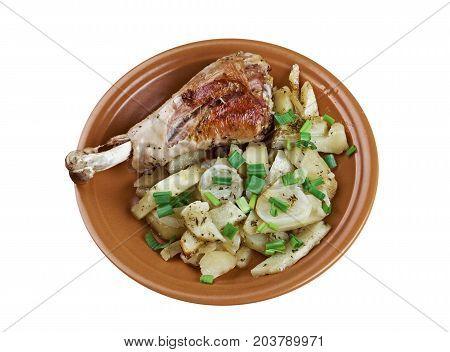 Turkey Leg With Baked  Potatoes
