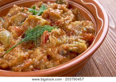 Zaalouk - Moroccan Eggplant Salad , close up meal