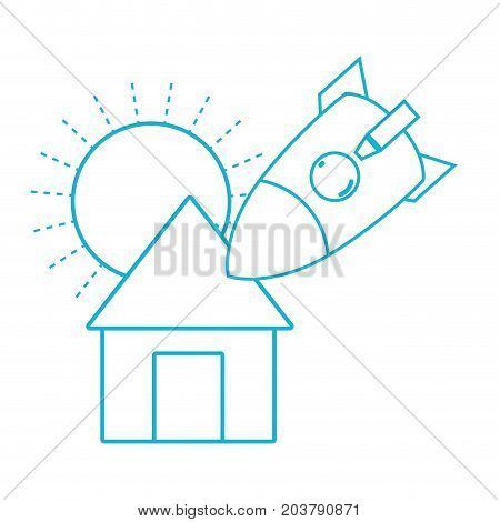 line sun and rocket crashed with the roof house vector illustration