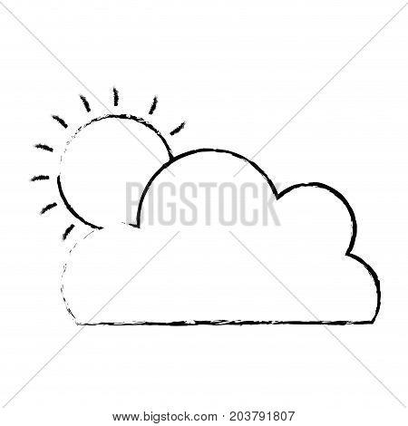 figure nice cloud with sun tropical weather vector illustration