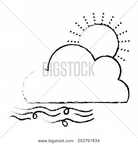 figure nice sun with cloud and fresh wind weather vector illustration