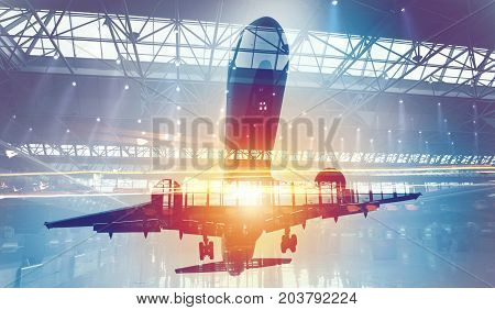 Take off of a modern aircraft with double exposure of airport