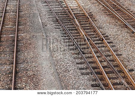 railroad at railway junction station. line of track crossing in countryside