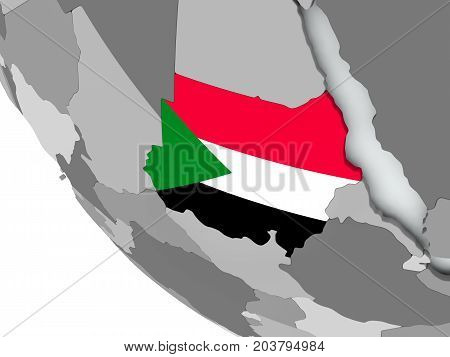 Flag Of Sudan On Political Globe
