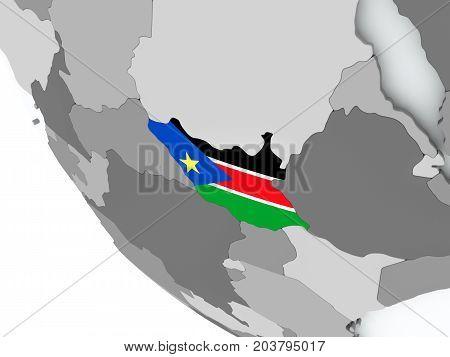 Flag Of South Sudan On Political Globe