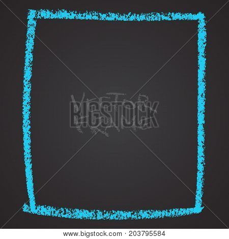 Frame drawn with a crayon. Wax crayon empty shape. Vector image of hand drawn stroke frame.