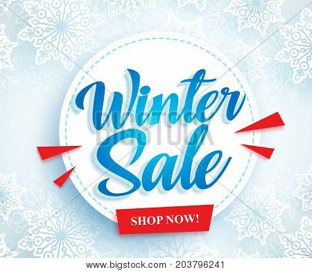 Winter sale vector banner design with white circle and blue sale typography text in snow background for season promotion. Vector illustration.
